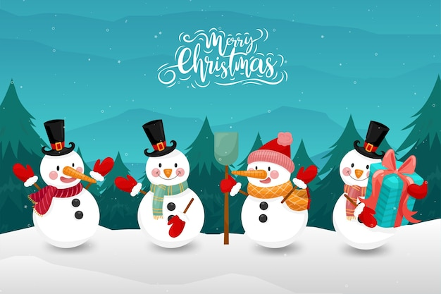 Merry christmas with happy snowman in winter