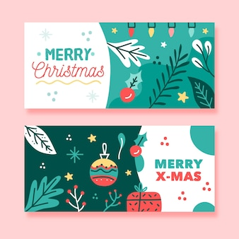 Merry christmas with lights banner design