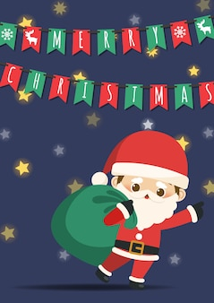 Merry Christmas with  little Santa Claus pulling a bag of gifts.