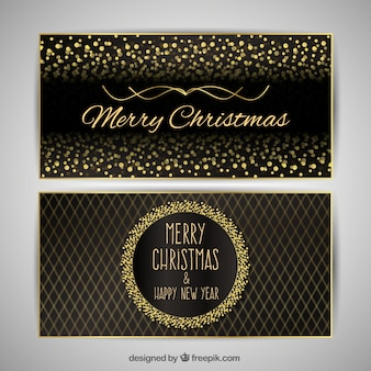 Merry christmas with luxurious golden cards
