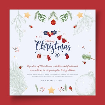 Merry christmas with mistletoe square flyer template