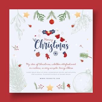 Счастливого рождества с шаблоном квадратного флаера омелы