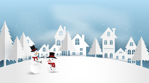 Merry christmas with paper snowman in winter season.