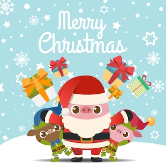 Merry christmas with pigs in santa claus and elf costume.