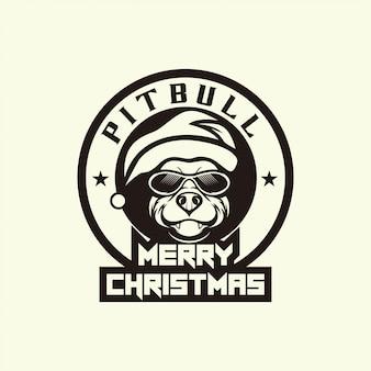 Merry christmas with pitbull dog head