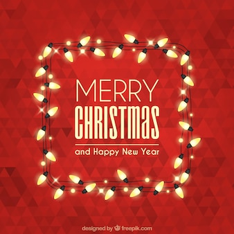 Merry christmas with polygonal background and lights