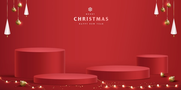 Merry christmas with product display cylindrical shape