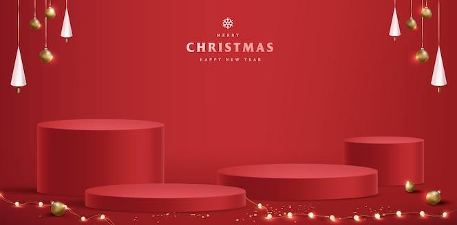 製品ディスプレイ円筒形のメリークリスマス