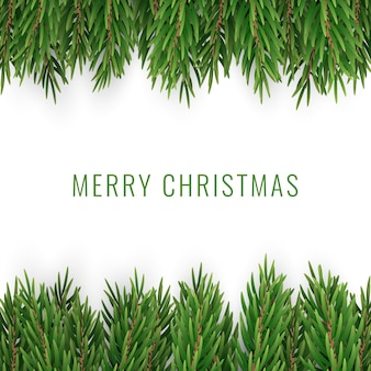 Merry christmas with realistic pine tree branches