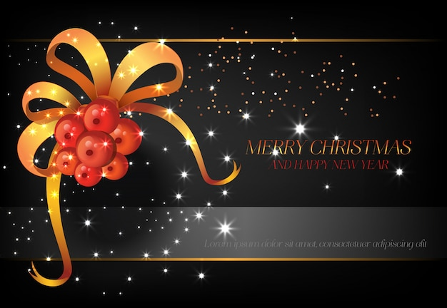 Merry christmas with red berries poster design