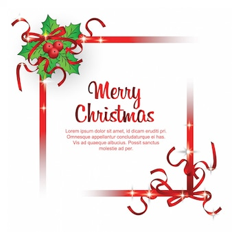 Merry christmas with red ribbons