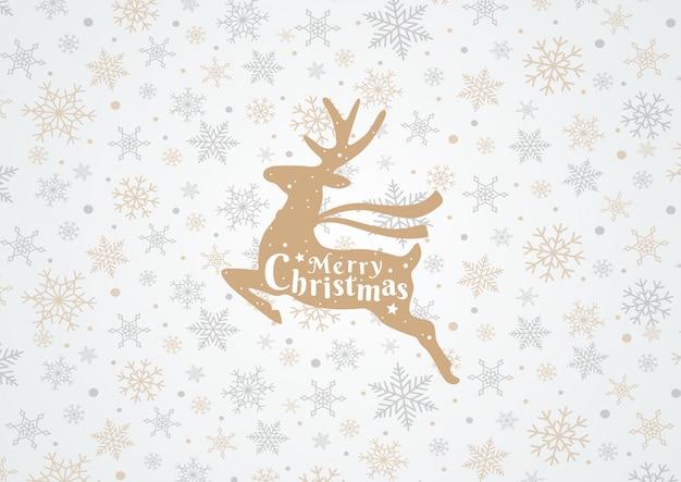 Счастливого рождества с оленями и снежинки на белом фоне
