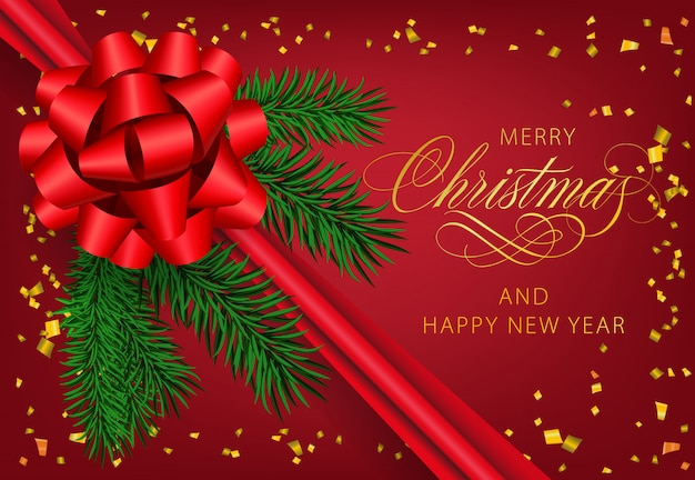 リボンとモミの木の枝とメリークリスマス