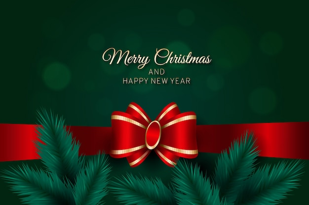 Merry christmas with ribbon and pine leaves