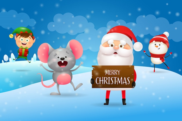 Merry christmas with santa and cartoon characters