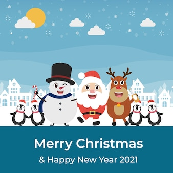 Merry christmas with santa claus and friends