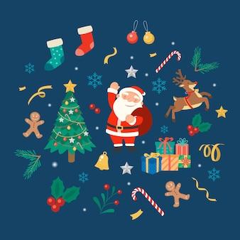 С рождеством христовым с санта-клаусом подарки шаблон поздравительной открытки