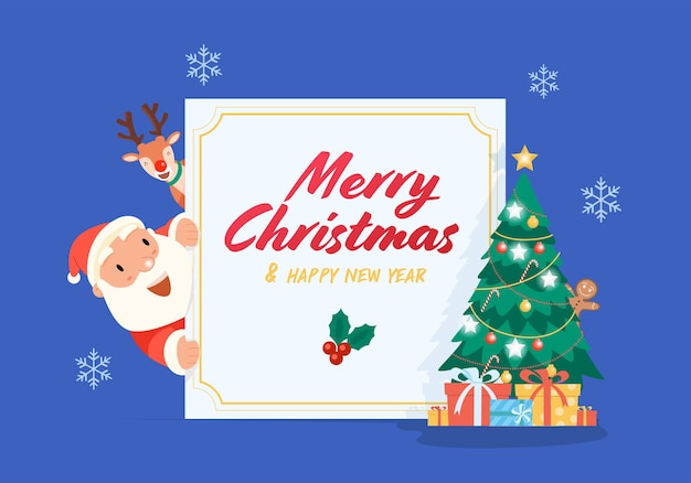 Merry christmas with santa claus gifts template greeting card
