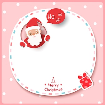 Merry christmas with santa claus and present box on frame pink background.