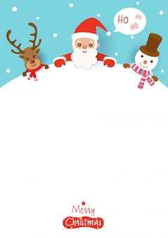 Merry christmas with santa claus,reindeer and snowman on white space