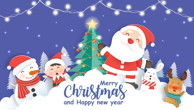Merry christmas with a santa clause and friends for christmas background ,christmas card in  paper cut and craft style.