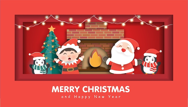 Merry christmas with a santa clause and friends for christmas background.