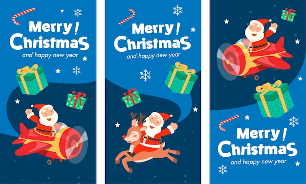 산타 비행기 배너와 순록을 타고 산타 클로스와 함께 메리 크리스마스.