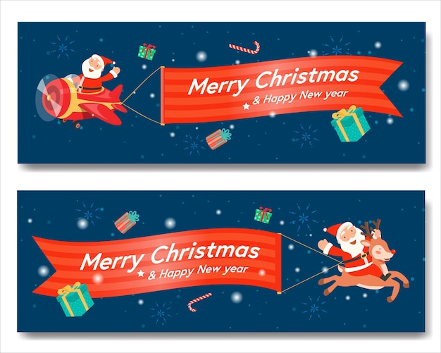 Merry christmas with santa plane banner and santa claus riding a reindeer.