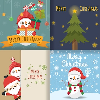 Merry christmas with set of greeting card, cute cartoon character little santa claus, snowman, christmas tree, gift box, snow on cards. vector illustration.
