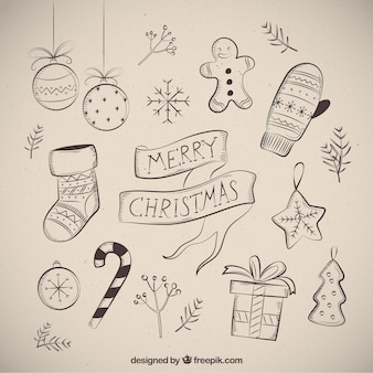 Merry christmas with several drawings