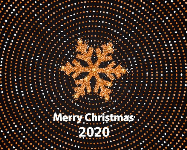 Счастливого рождества с сияющей золотой снежинкой