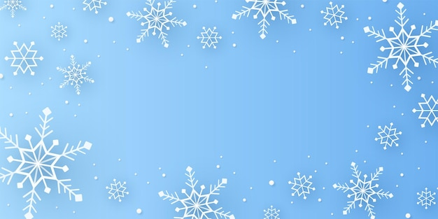 ペーパーアートスタイルの雪と降雪の背景とメリークリスマス