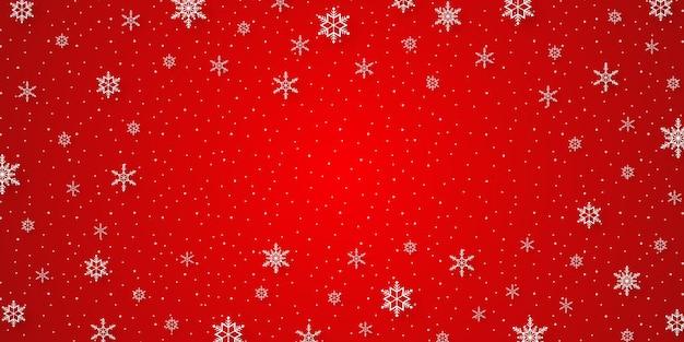 ペーパーアートスタイルの赤い背景に雪と降雪とメリークリスマス