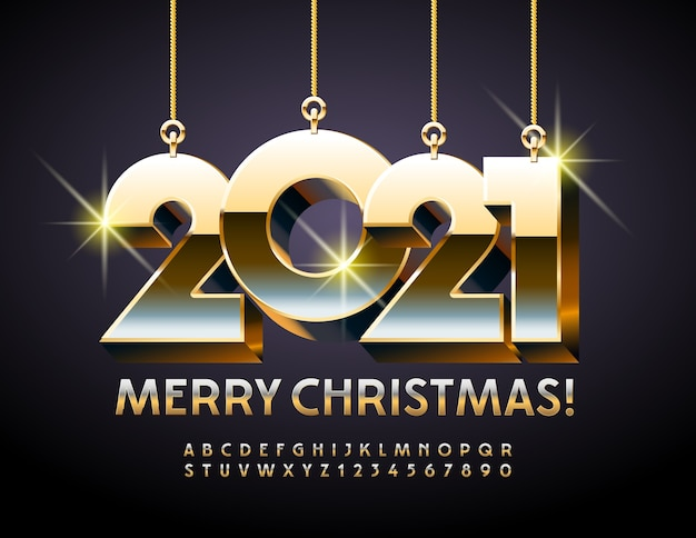 Merry christmas with toys 2021. chic font. 3d gold alphabet letters and numbers