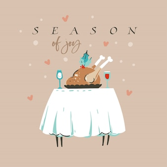 Merry christmas with turkey dinner and season of joy text isolated on pastel background