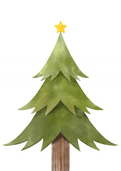Merry christmas with watercolor christmas tree.