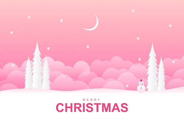 Merry christmas with with pink winter season background