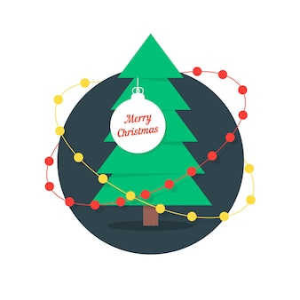 С рождеством христовым с елкой и гирляндами. концепция еловой ветки, шаблон новогодней елки, традиционная игрушка. изолированные на белом фоне. плоский стиль тенденции современный дизайн логотипа векторные иллюстрации