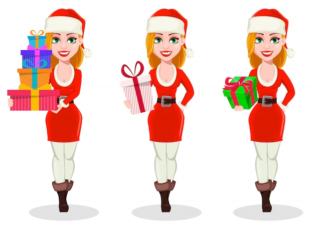 Merry christmas. woman in santa claus costume