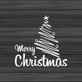 Merry christmas wood background with creative lettering