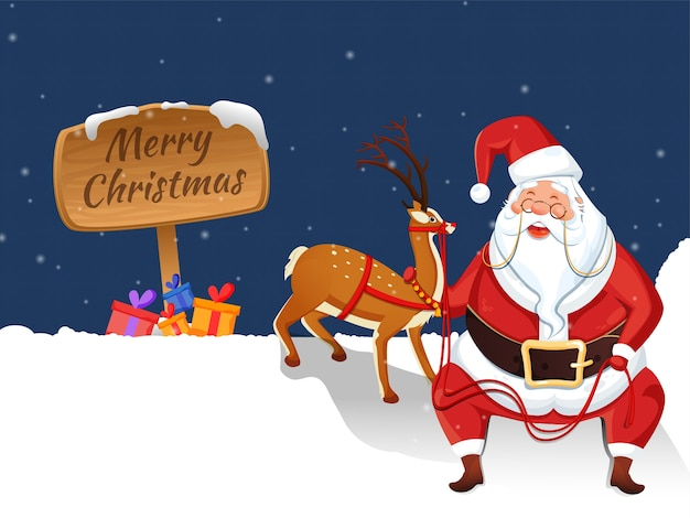 Merry christmas wooden board with cartoon santa claus holding rope of reindeer