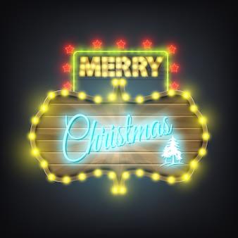 Merry christmas wooden neon billboard