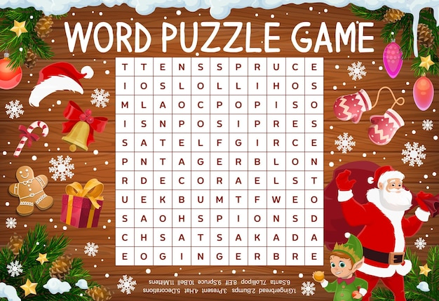 Merry christmas word puzzle game worksheet. word quiz or riddle with santa, elf and xmas candy sweets, gifts. kids crossword, child educational game page with christmas items, winter holidays symbols