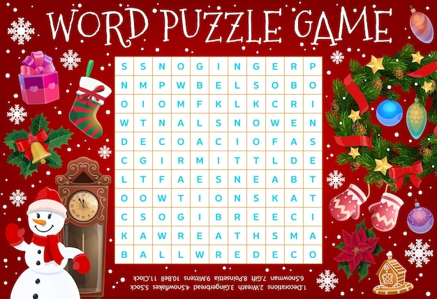 Merry christmas word puzzle worksheet. word quiz riddle with christmas wreath, gifts and snowflakes, holly berry and poinsettia flower. kids holiday educational game, logical riddle or crossword