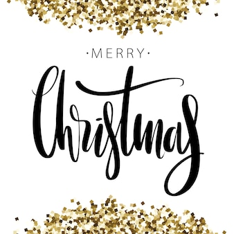 Merry christmas words on background with golden glitter.