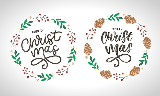 Merry christmas wreath collection