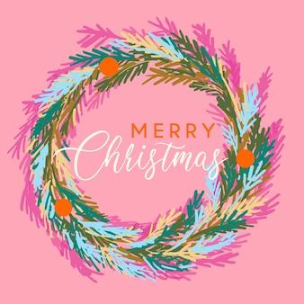 С рождеством христовым венок в трендовой розовой и красной цветовой палитре