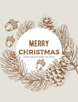 Merry christmas wreath sketch style composition with ornaments