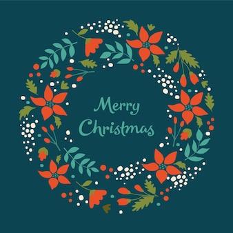 С рождеством христовым венок с листьями цветов и снежинками