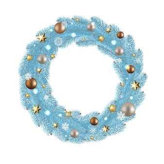 Merry christmas wreath with gradient mesh,  illustration.